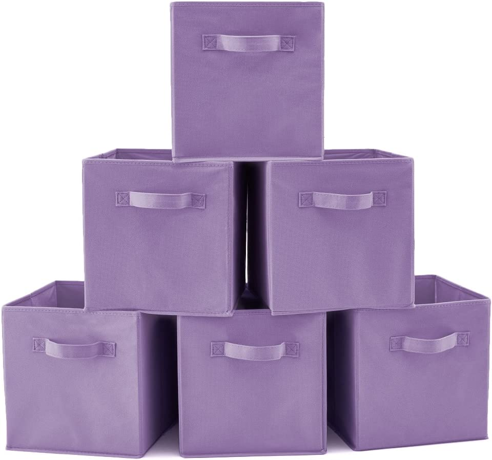 EZOWare Caja de Almacenaje con 6 pcs, Set de 6 Cajas de Juguetes, Caja de Tela para Almacenaje, (Púrpura)