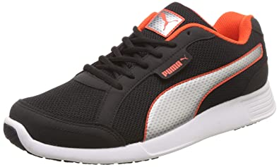39b36120c31 Puma Men's Black-Bright White-Cherry Tomato Sneakers-10 UK/India (