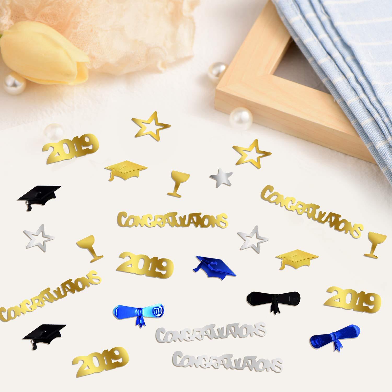 Stars About 2000 Pieces Zhanmai 3.52 Ounces 2019 Graduation Confetti Goblet Include Graduation Hat Congrats 2019 and Wine Bottle Elements for Graduation Party Supplies