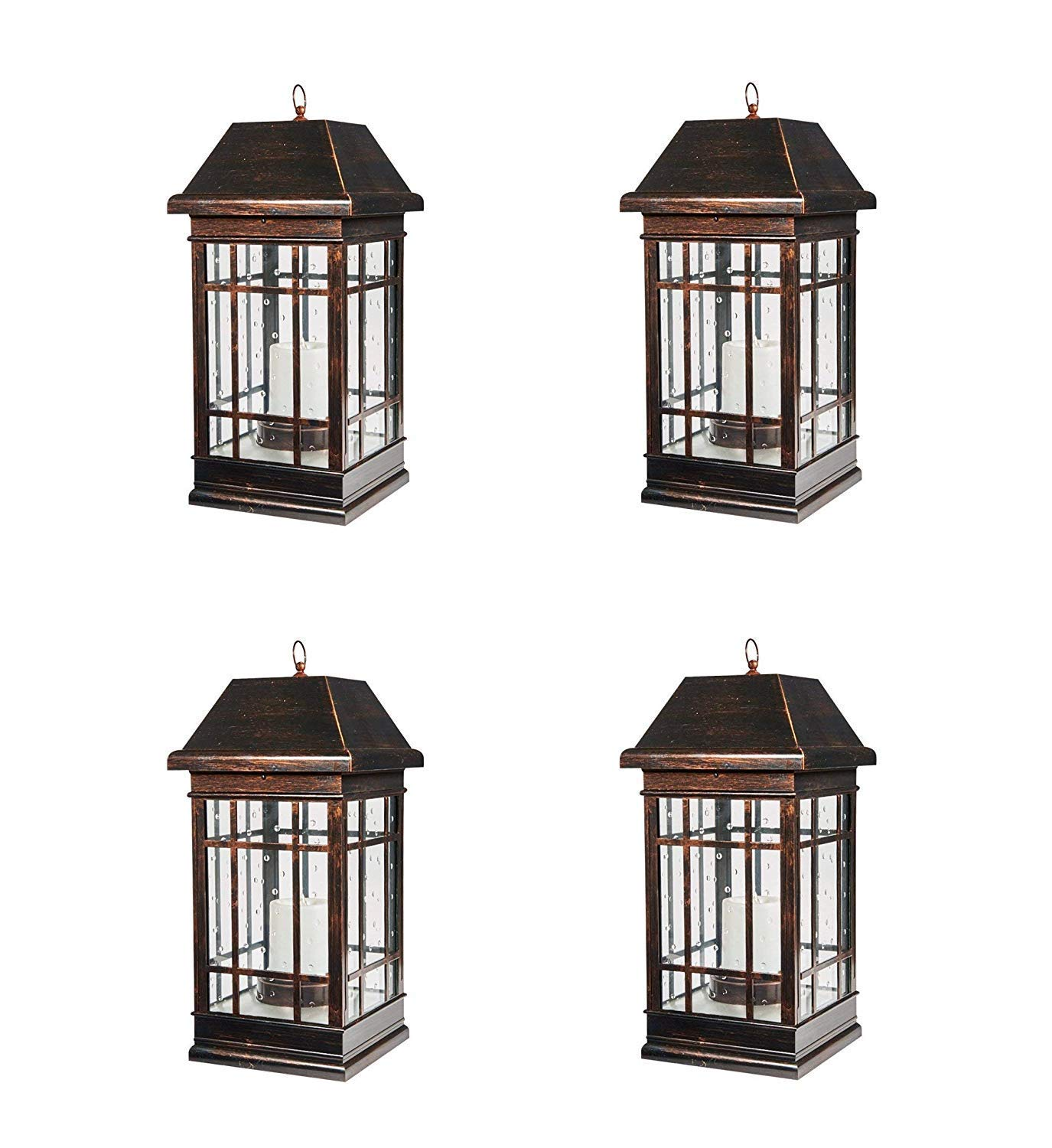 Smart Solar 3900KR1 San Rafael Mission Style Solar Lantern, Lantern is Illuminated by 2 High Performance Warm White LEDs in The Top, 22-Inch, Antique-Bronze (Pack of 4)