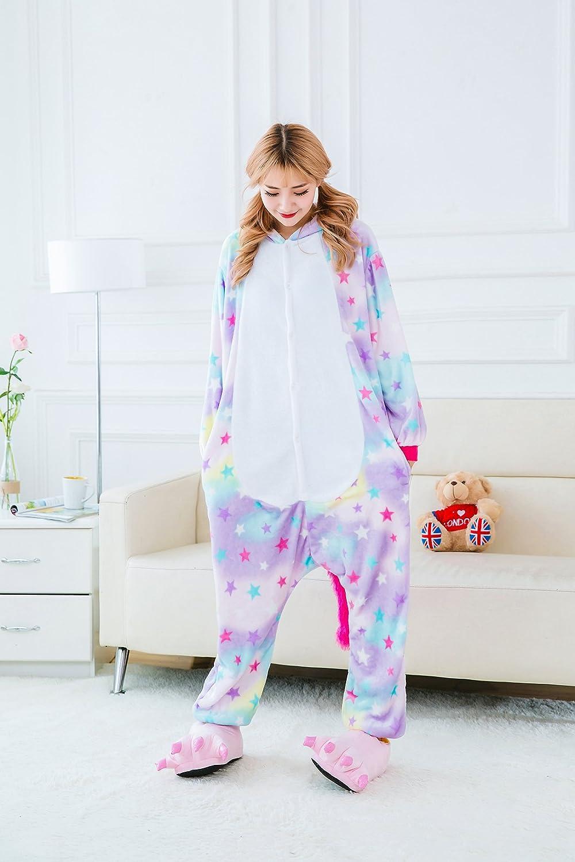 OKSakady Adulto Unisex Unicornio Onesies Franela Cosplay Animales Pijamas con Capucha Ropa de Dormir: Amazon.es: Ropa y accesorios