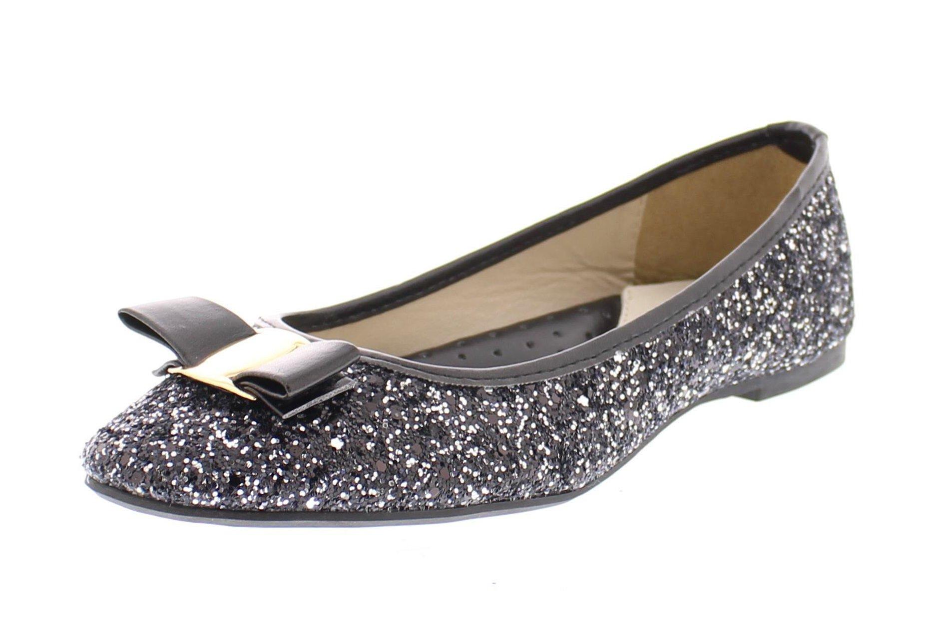 Gold Toe Women's Tempest Metallic Sequin Sparkle Ballet Flat Slipon Dress Pump Bow Ballerina Skimmer Shoe Black 11 US