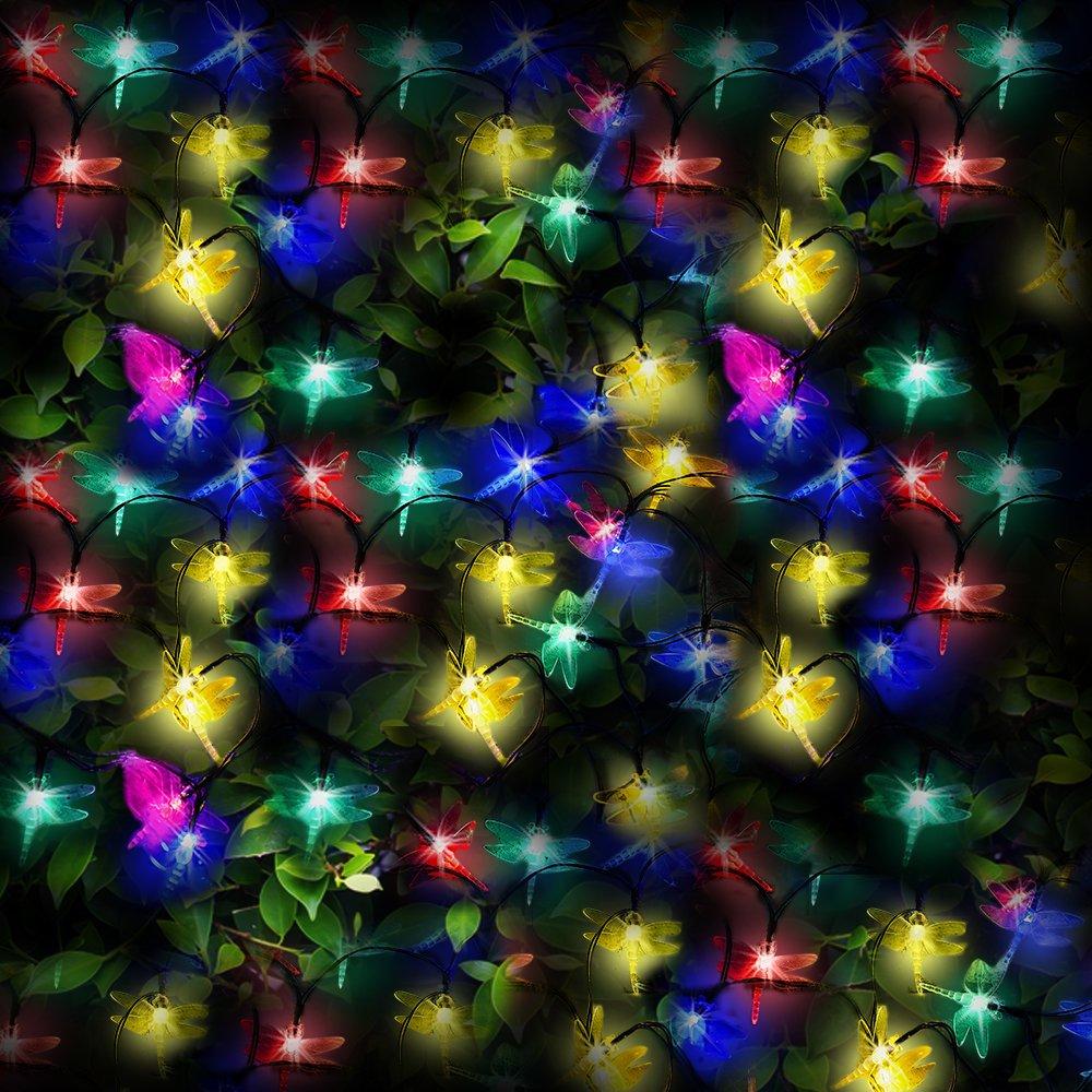 100 Multicolor LED Solares Guirnaldas Luminosas forma de Libélula - Iluminación de energía solar al aire libre a prueba de agua - Lámparas de jardín solar / linterna externa con sensor nocturno incorporado, cuerdas y picos de tierra – Accionado por Energí