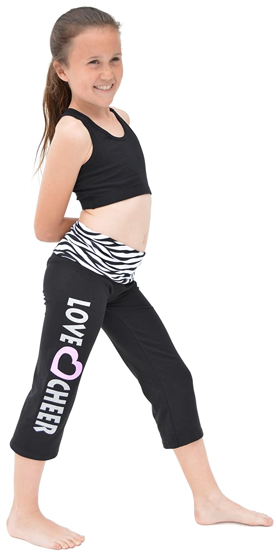 d708ffb722a87 Amazon.com: Stretch is Comfort Girl's CAPRI LOVE CHEER Yoga Pants: Clothing