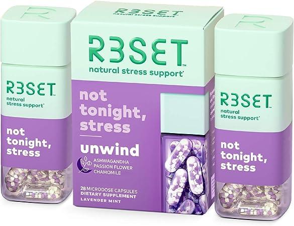 R3SET Unwind, Stress & Occasional Feelings of Anxiety & Sleep Support Supplement with Chamomile, Vitamin D3, Omega 3, Valerian Root, Ashwagandha, Lemon Balm & Beta Caryophyllene, 28 Capsules