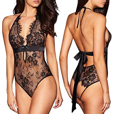 f6411e3e76 VPASS -Sexy Lingerie Sets Backless Lace Push up Babydoll Open Crotch for  Sex Underwear Bodystocking