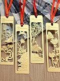 【4枚セット】伝統古風シリーズ(梅・竹・蘭・菊) ステンレス製ブックマーク しおり