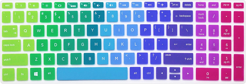 "Keyboard Skin for 15.6"" 2018 Flagship HP Pavilion, HP Pavilion X360 15-br075nr, HP Envy x360 15m-bp 15m-bq Series, HP Pavilion 15-BS 15-BW 15-CC 15-CB 15-CD Series, HP Spectre x360 15-ch011dx -Rainbow"