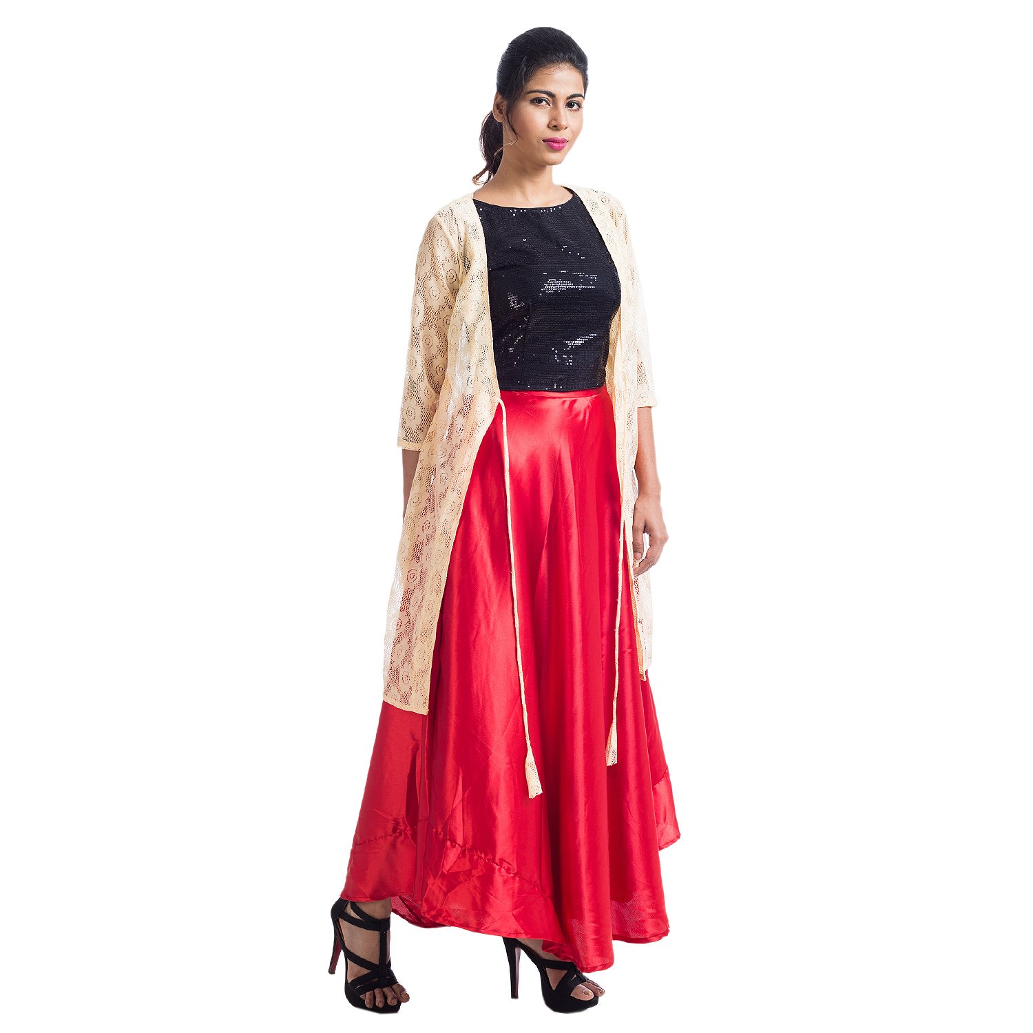 fd1d7807ea Mamosa suits for women readymade Designer Black Sequence Georgette Crop Top  with Red Satin Fashionable Maxi Long Skirts for women with Beige Net Shrug  ...