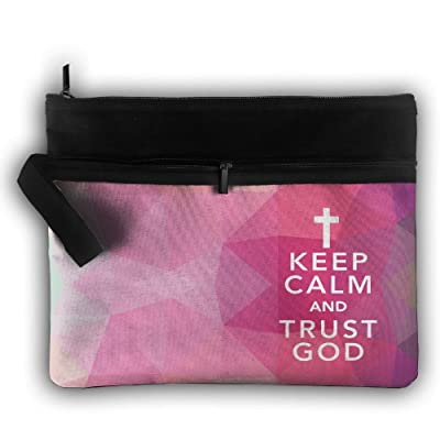 Keep Calm And Trust In God Double Layers Zipper Cosmetic Bag Makeup Brush Holder Bag