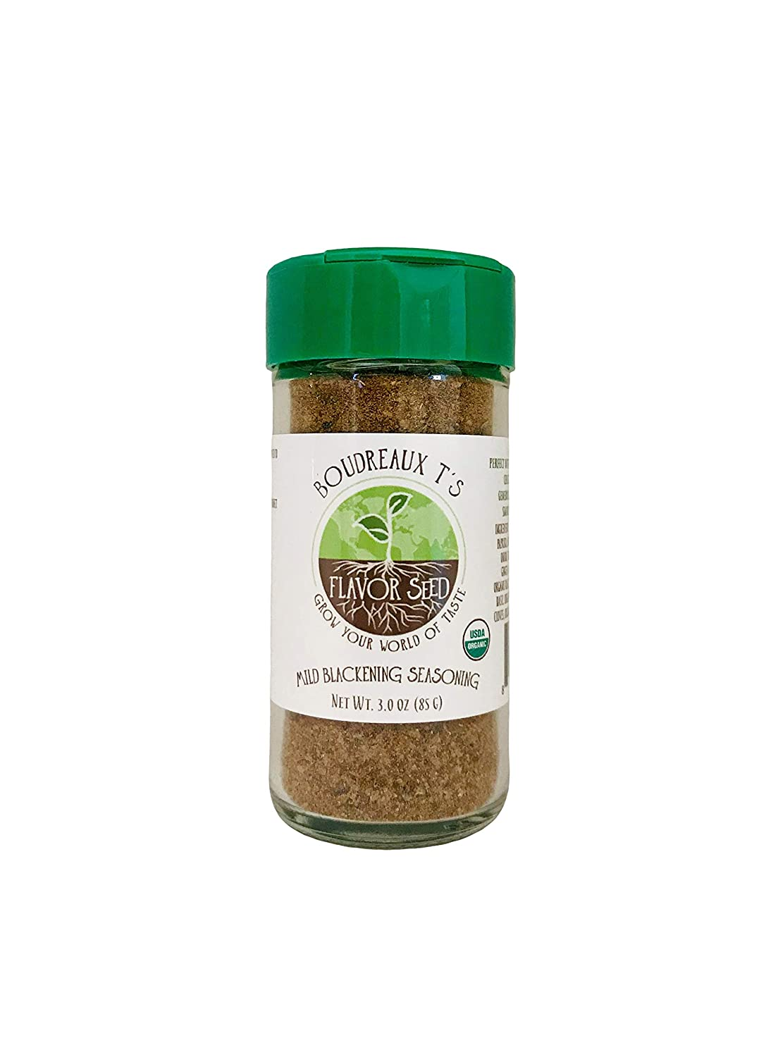 FLAVOR SEED - Boudreaux T's Organic Mild Blackening Seasoning|Keto, Paleo, Non-GMO, Gluten Free|Great for Blackened Seafood, Salmon, Tuna, Redfish, Chicken Wings, Vegetables, Burgers|Magic Not Spicy