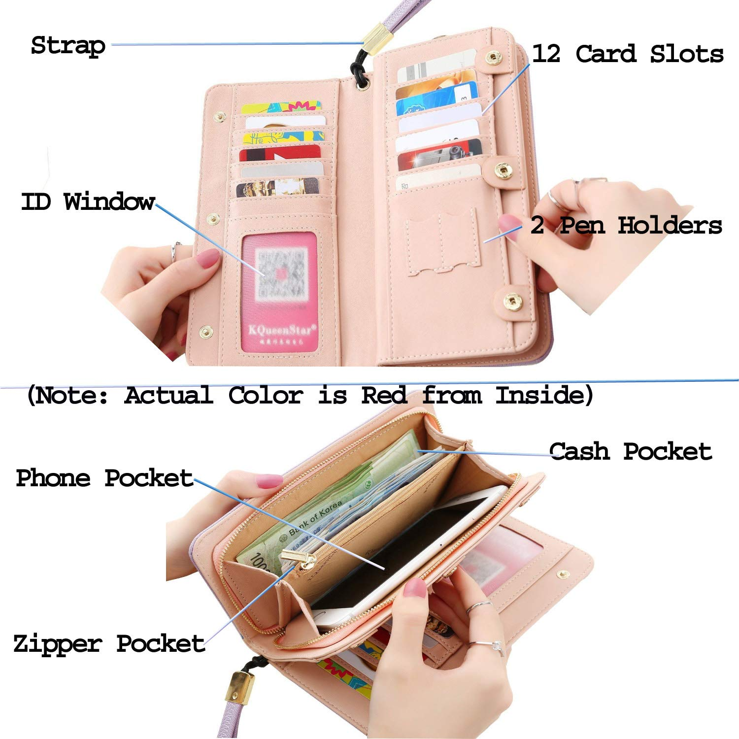 65921fb91dbf Amaze Fashion Wallets for Women RFID Blocking Clutch Zipper Colorful  Leather Long Purse Wrist Strap with Phone Pocket
