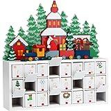 Deuba Adventskalender zum befüllen | Weihnachts Landschaft Kalender 2018 Kinder | DIY Selber Befüllen | Holz Türchen Deko