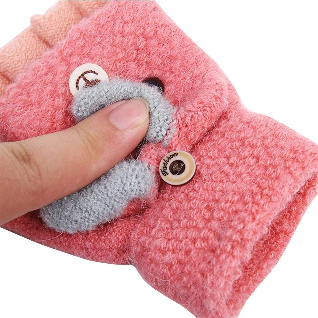 Jiaxingo Autumn and Winter Toddler Baby Warm Gloves Kids Knitted Mittens Children Winter Gloves Five Finger Mittens Fingerless Unisex Girl Boy Cycling Gloves 2-6 years old