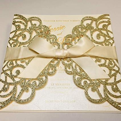 Amazon Com 50 Elegant White Lace Wedding Invitation With Shiny