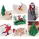 3D Gift Greeting Cards Papercraft Cute 7 Pack Holiday Pop Up Cards