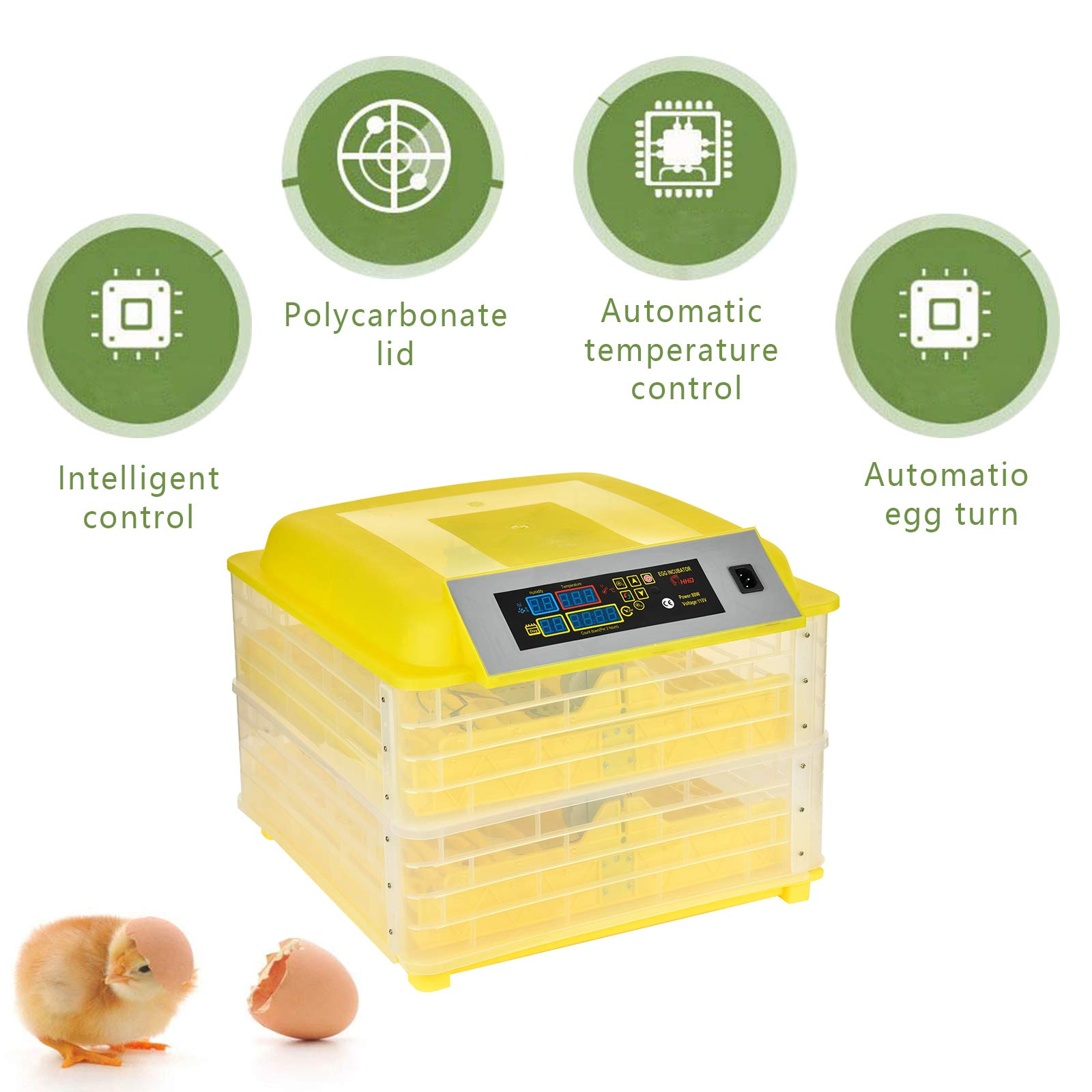SUNCOO Digital 96 Egg Incubator Hatcher Large with Automatic Egg Turning Temperature and Humidity Control for Chicken, Poultry Hatching for Chickens Ducks Goose Birds Turkey W/Three Output Channels