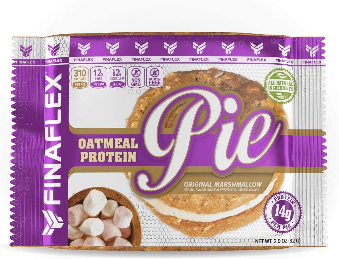 Oatmeal Protein Pie, All-Natural Soft and Chewy Non GMO Snack, Gluten Free, Kosher, 14g Protein, 12g Fiber, Only 8 Sugars, Creamy Marshmallow Protein Filling, Perfect for Kids and Adults (Original)