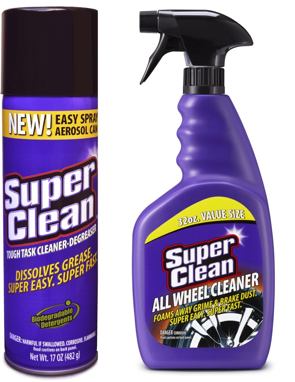 SuperClean 315200 17oz Foaming Aerosol Engine Degreaser and 32oz All Wheel Cleaner, 49. fluid_ounces, 2 Pack