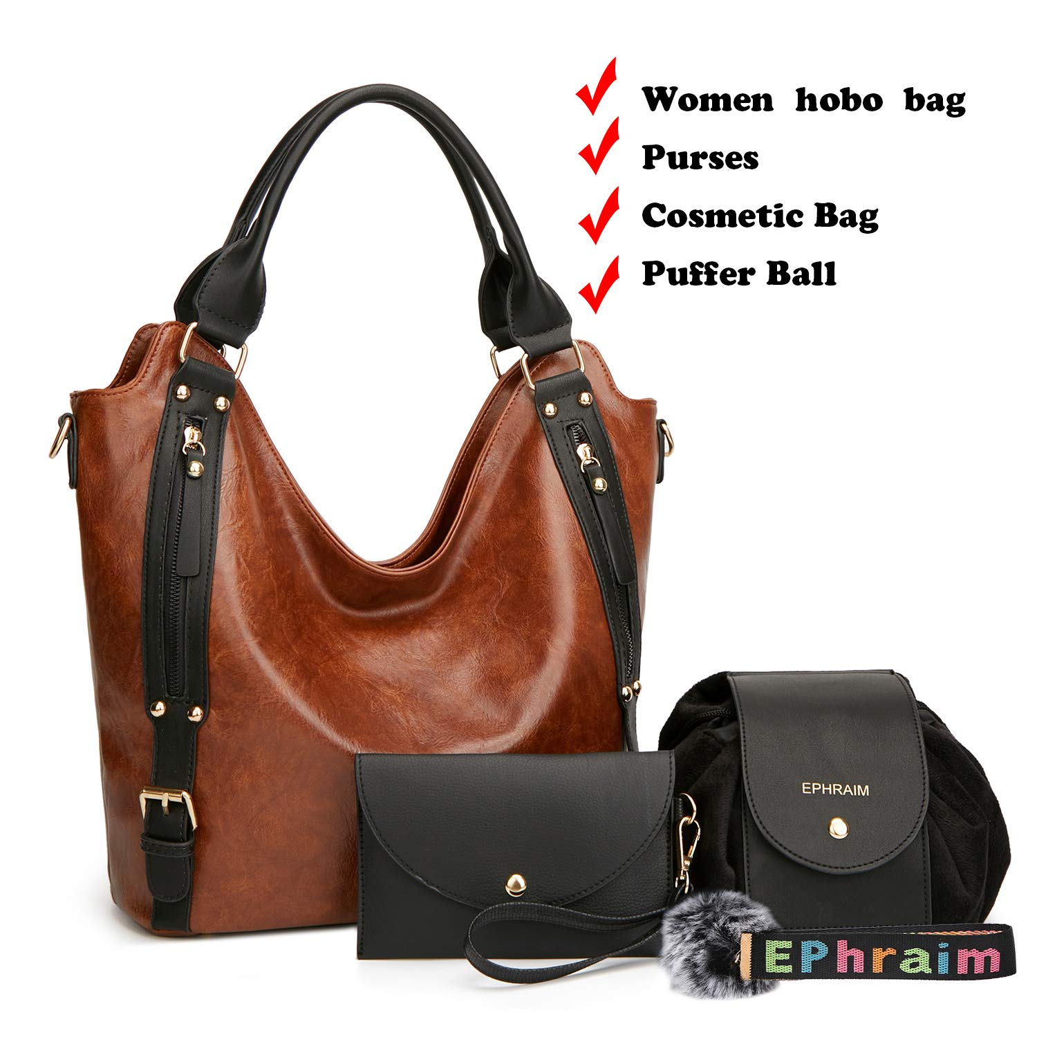 Women Leather Purse Phone Bags Handbags with Fashion Large Capacity Bags 4pcs (Brown)