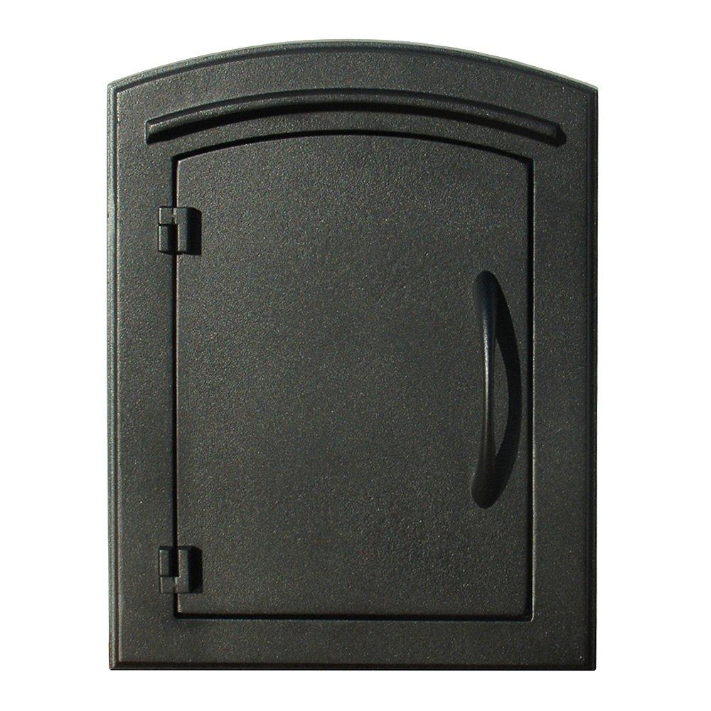 QualArc MAN-S-1400BL Manchester with Security Chute Column Mount Mailbox Plain Door in Black