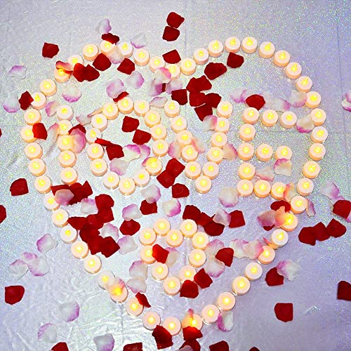 AceList 100 Flameless Tea Lights and 1000 PCS Rose Petals Led Candles Flameless Candle