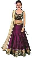Market Magic World Girl's Wear Banglori Silk Embroided Semi Stitched Lehenga Choli (MMW-00423_Free Size_8-12 Year Age_Purple)