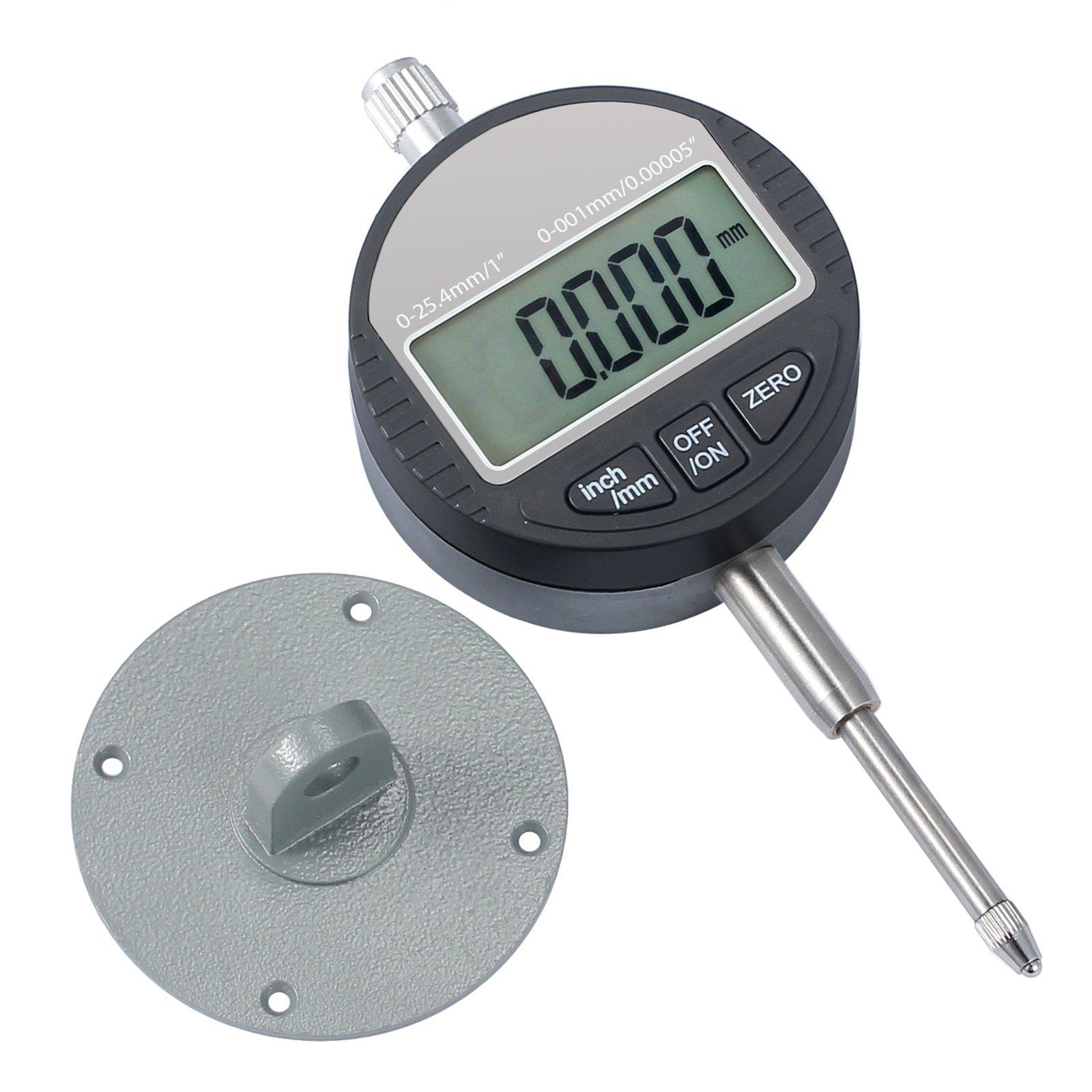 "Rhinoco Digital Dial Indicator 0.001/0.00005'' 0-1"" Digital Electronic Indicator Dial Test Gauge Range 0-25.4mm with Large LCD Display"