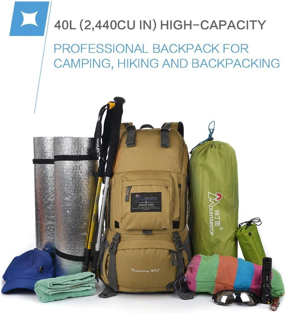MOUNTAINTOP 40L Sac /à Dos de Randon/ée Trekking Camping Voyage /éthanche avec Housse de Pluie