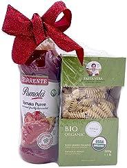 Imported Italian Pasta & Sauce Gift Basket Set | [1] La Torrente Tomato Pomola Puree & [1] Pasta Vera Organic Durum Wheat Sem