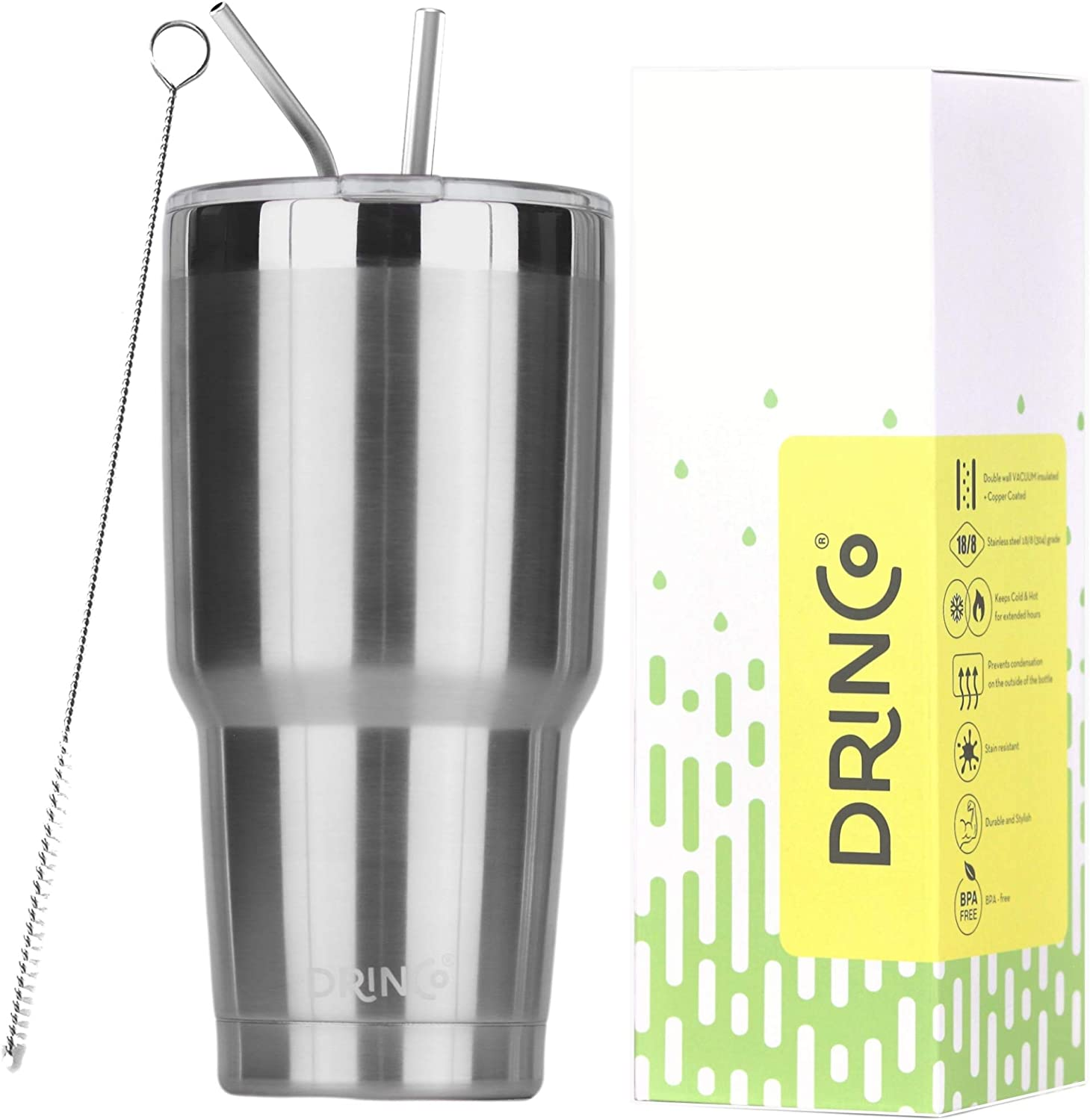 DRINCO - 30 oz Stainless Steel Tumbler | Double Walled Vacuum Insulated Mug With Spill Proof Lid, 2 Straws, For Hot & Cold Drinks (Stainless Steel, 30 oz)