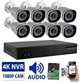 GW 8 Channel 2MP 1080P Network Wireless WiFi Security Camera System (NVR Kit) - 8 x HD 1080P Video & Audio Surveillance Outdoor/Indoor Wireless IP Cameras Built-In Microphone, 100FT IR Night Vision