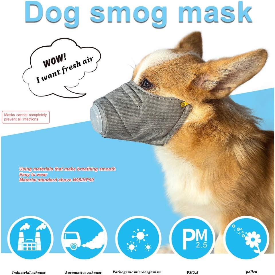 CTGVH 3-teilige Hundemasken Einstellbare Haustiermaske PM2.5 Filter Anti-Staub-Masken Hund Gesichtsmundmaske N95 Atemmaske Welpen Maske Abdeckung Tieratemmaske f/ür Kleine Mittelgro/ße Hunde