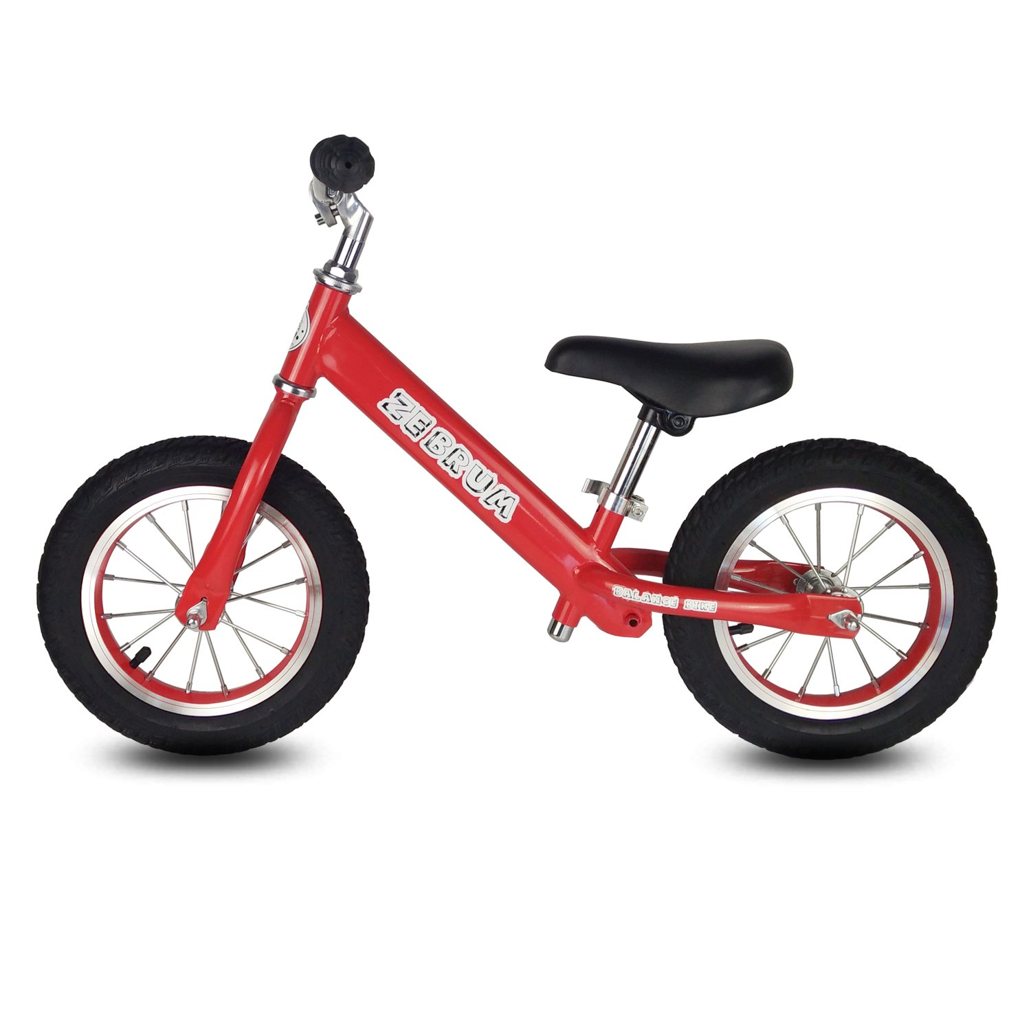 Toddler Balance Bike, 12'' Tires Glider bike for Kids 2-5 Years Old by Zebrum, Quick Adjust &Padded Seat, No Pedals (Red)