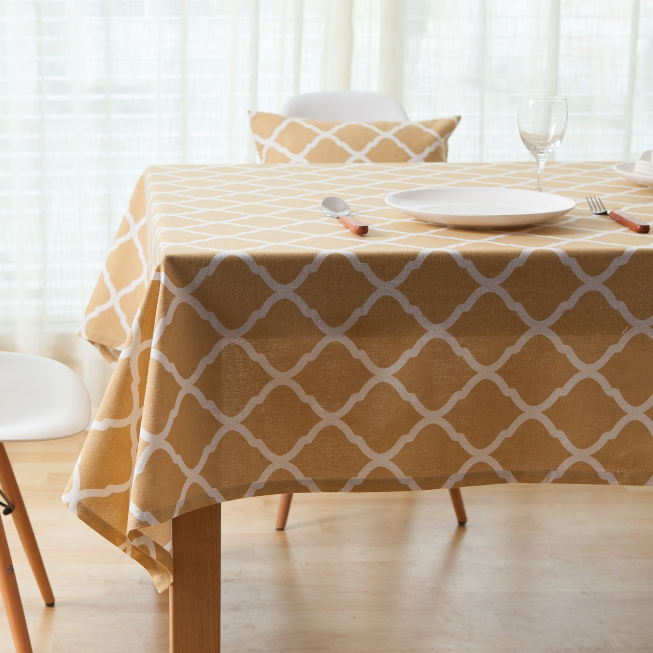 Oyeahbridal Gingham Cotton Linen Tablecloth Moroccan Pattern for Dining Kitchen Living Room Decorative Table Cover Square Grey 55X55 Inch