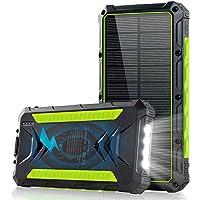 slols Power Bank Solar 20000mAh, Cargador Solar Portátil Batería Externa Móvil con 2 Salidas USB y 1 Tipo C 3.0A de Alta…