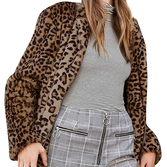 Sexy Leopard Printed Plush Coat, RNTOP Fashion Long Sleeve ...