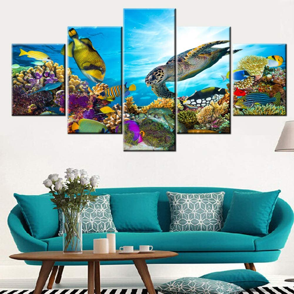 Room Wall Pictures Colorful Coral Reef Wall Art for Living Room Landscape Paintings 5 Piece Prints on Canvas Undersea Artwork Modern Home Decor Galler-Wrapped Wooden Framed Ready to Hang(60''Wx 32''H)