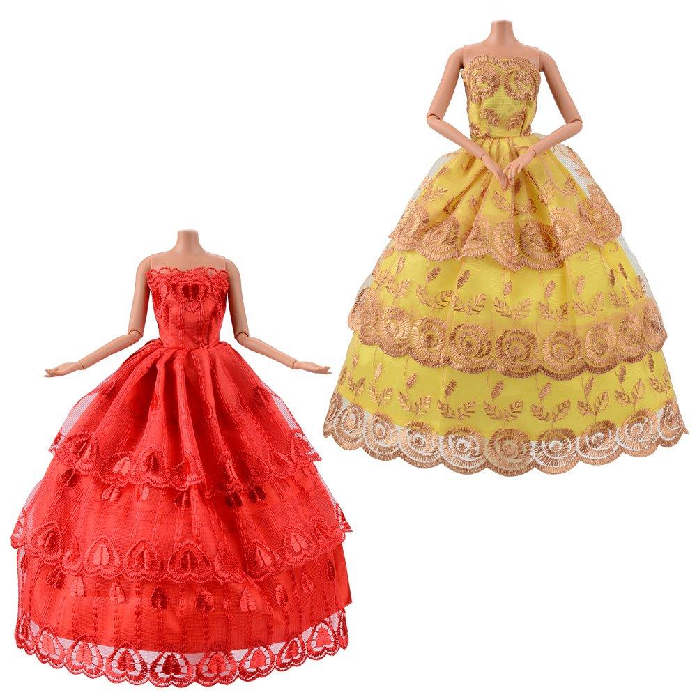 Compatible Avec Poupees Barbie Vetements De Partie De Charme Asiv 10 Pack Robe De Princesse Faite A La Main De Mode Vetements Et Chaussures