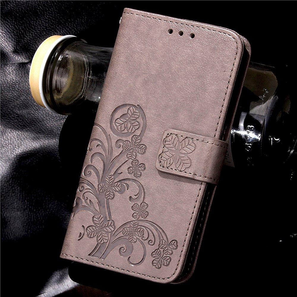 COTDINFOR LG G4 Stylus Coque Housse Lucky Clover Fille Femme /Él/égant R/étro Fait Main Portefeuille avec B/équille de Carte de cr/édit Magn/étique Flip /Étui Cuir pour LG G Stylo LS770 Clover Red SD.