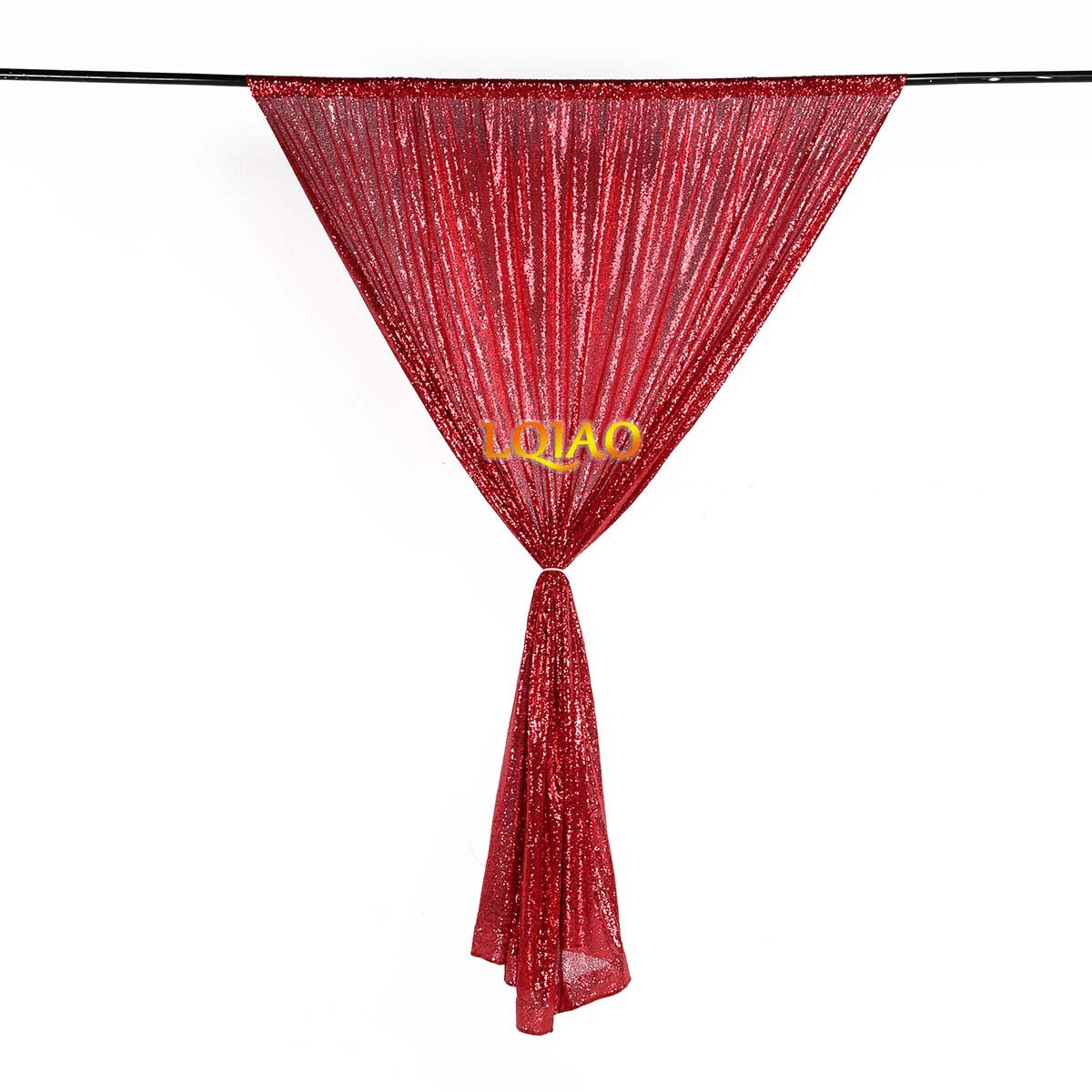 LQIAO Embroidered Sequin Fabric Backdrop Curtain 4FTx8FT Red Modern Window Drapes Sequin Curtain for living room/photo booth backdrop