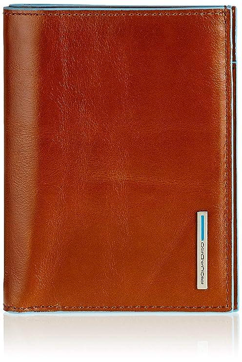 eae3b382a6 Portafoglio Uomo verticale Piquadro Blue Square arancione con scomparti per  banconote, carte di credito e