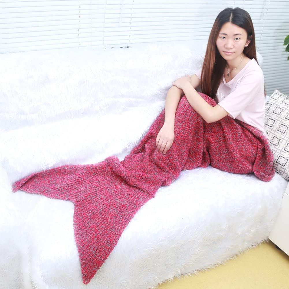 Blue Cloud-Castle Handmade Mermaid Tail Blanket 70.8 x 31.4 for Adults and Teen