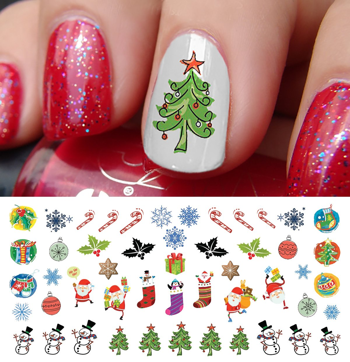 Amazon.com: Christmas Holiday Assortment Water Slide Nail Art Decals ...