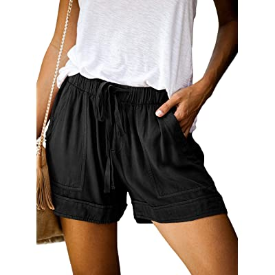 Acelitt Women Comfy Drawstring Casual Elastic Waist Pocketed Shorts Pants (S-XXL) at Women's Clothing store