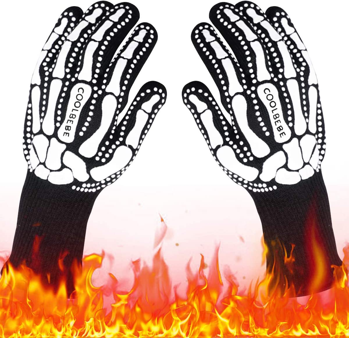 Black Skeleton BBQ Grill Gloves, COOLBEBE Unisex Cooking Oven Barbecue Gloves Kitchen Mitts with Skull Pattern - 1472°F Extreme Heat Resistant, Durable & Light Weight - 1 Pair : Garden & Outdoor