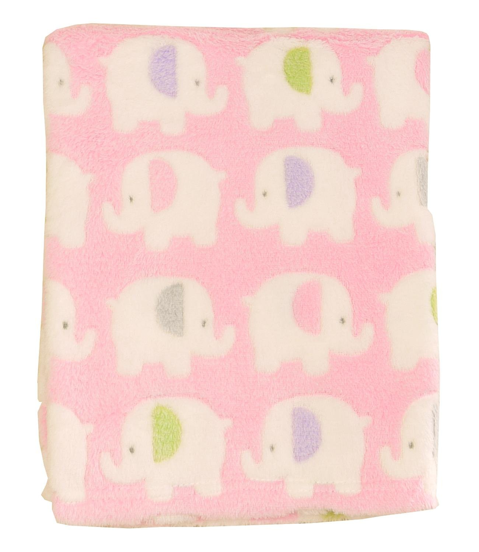 BabyPrem Baby Fleecy Blanket Wrap Shawl Printed Design 100 x 75cm PINK ELEPHANT