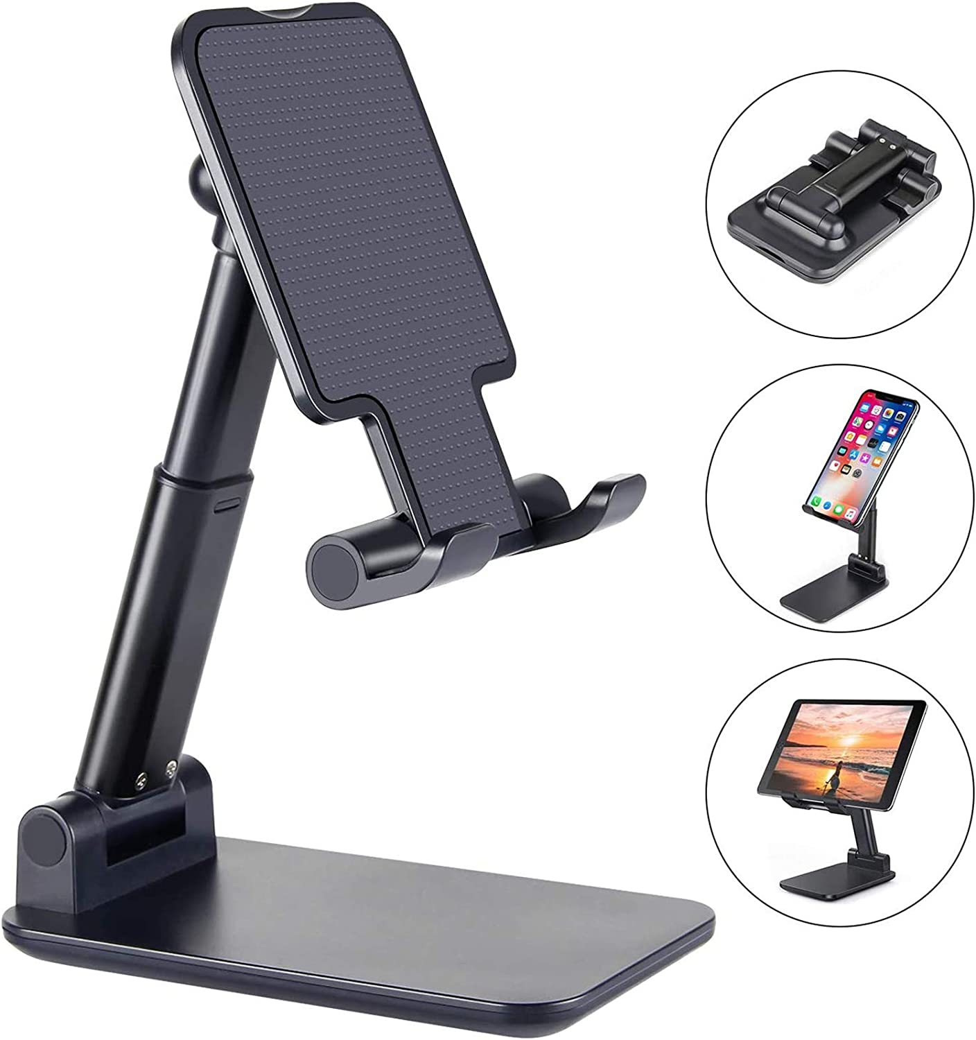 Cell Phone Stand, Foldable Portable Desktop Stand Adjustable Height and Angle Holder Compatible with Smartphone/ iPad/ Kindle/ Tablet/ iPhone/ Nintendo/ Switch (Black)