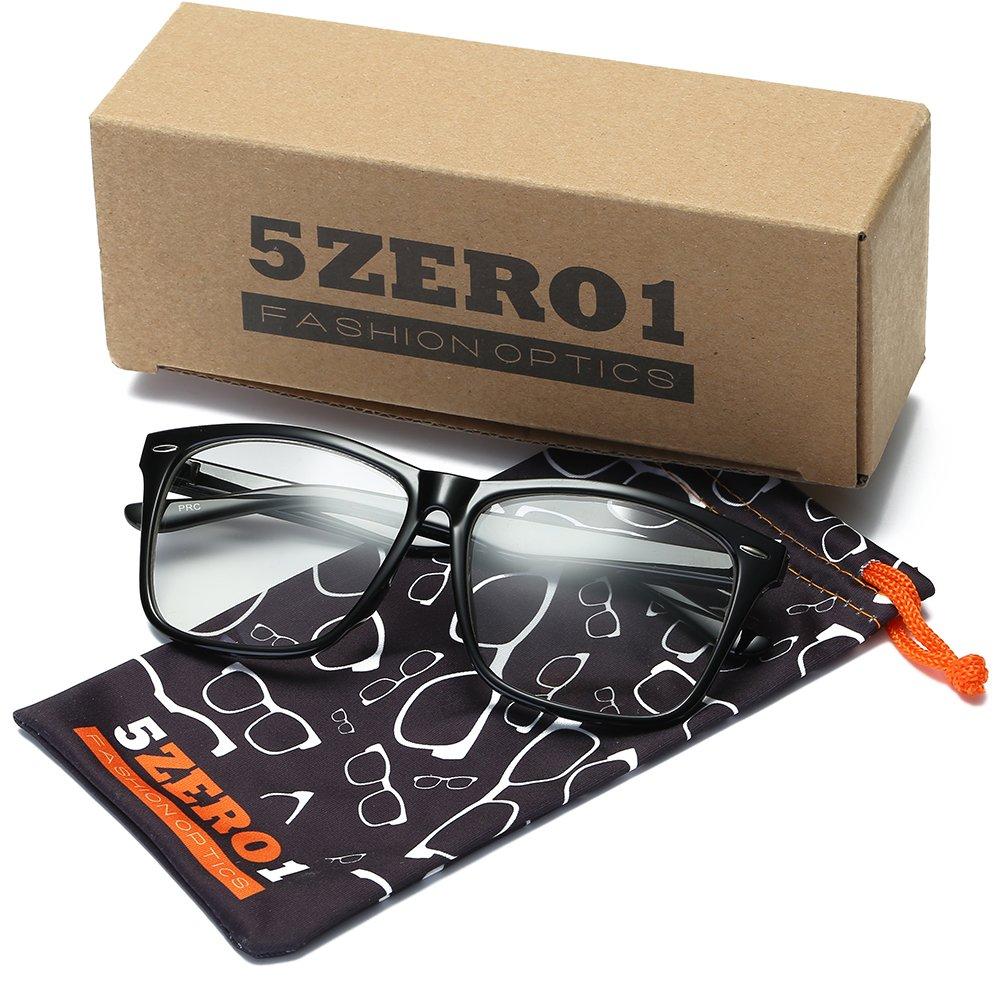 34b540609b4 Amazon.com  5zero1 Fake Glasses Big Frame Nerd Party Men Women Fashion  Classic Retro Eyeglasses