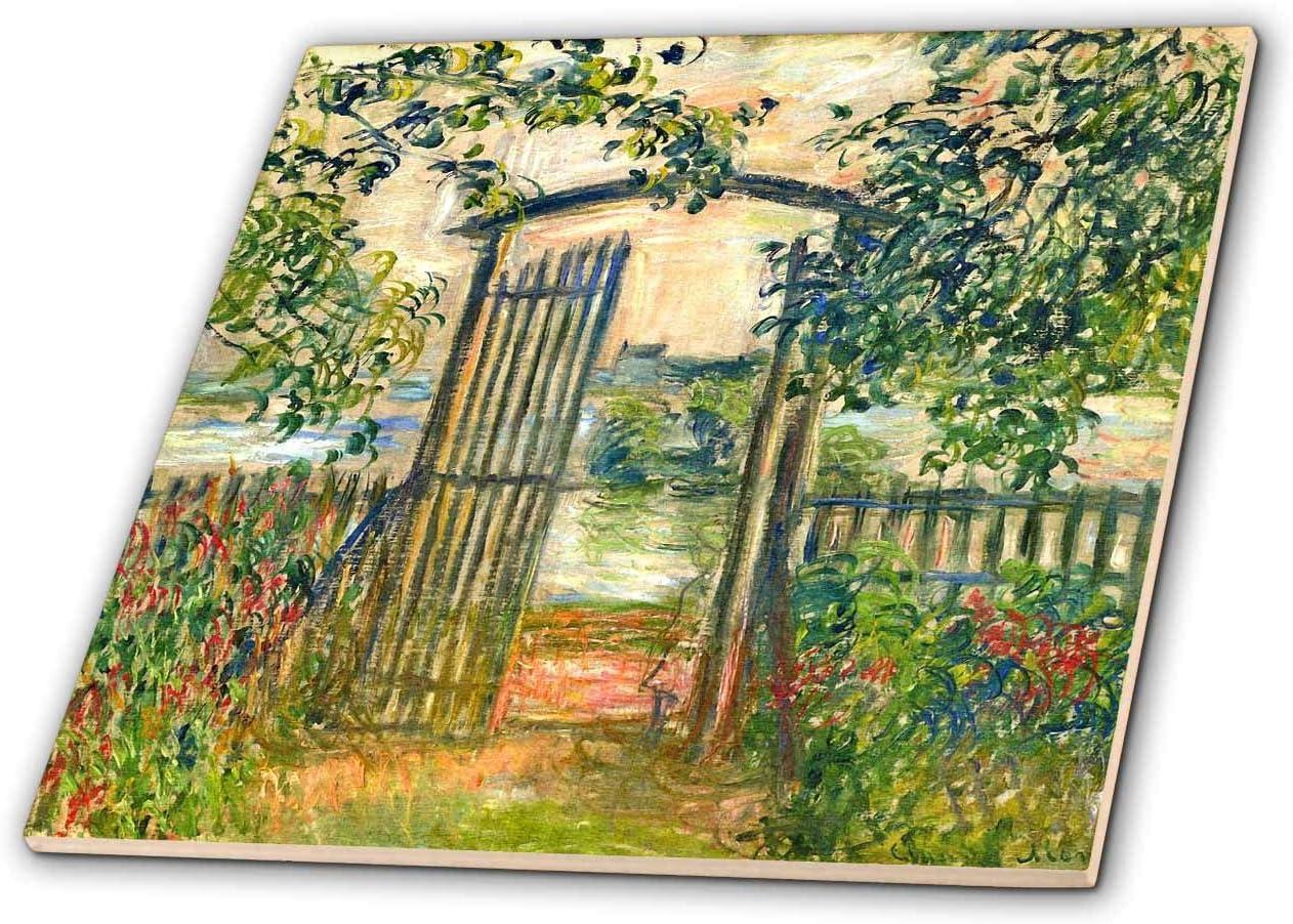 3dRose Claude Monet – The Garden Gate at Vetheuil-Ceramic Tile, 4-inch (ct_303347_1)